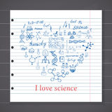 Chemistry and sciense elements doodles icons set. Hand drawn sketch with microscope, formulas, experiments equpment, analysis tool Royalty Free Stock Photo