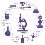 Chemistry scientific, education elements: microscope, Petri dish, dropper, flasks, camera Kippa, formulas, beaker, burner, amoeba vector illustration