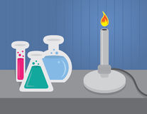 Chemistry Set. With beakers and test tubes Stock Images