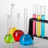 Chemistry set. With  test tubes, and beakers filled with multicoloured liquids Royalty Free Stock Image