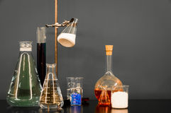 Chemistry Set. A set of chemistry viles and flasks Stock Photo