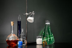 Chemistry Set. A set of chemistry viles and flasks Stock Image