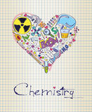 Chemistry in shape of heart. Vector illustration of chemistry in shape of heart Royalty Free Stock Photos
