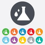 Chemistry sign icon. Bulb symbol with drops. Royalty Free Stock Photo