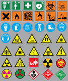 Chemistry simbols. 38 common chemistry safety signs and symbols Stock Images
