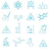 Chemistry simple outline vector icons set Royalty Free Stock Images