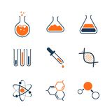 Chemistry simple vector icon set. Bottles, tubes, liquids, dna, molecules and atoms Stock Photo
