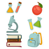 Chemistry specialized students belongings isolated illustrations set. Chemistry specialized students belongings isolated vector illustrations set. Flasks with Stock Image