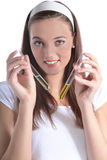 Chemistry student holding test tubes Royalty Free Stock Images