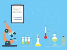 Chemistry stuff icons. Chemistry lab with microscope, testtubes, and experimental staff Stock Photos