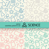 Chemistry symbol seamless patterns set Stock Image