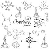 Chemistry symbols with formula on white. Vector Royalty Free Stock Photo