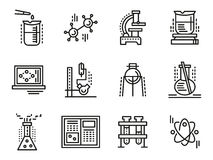 Chemistry symbols simple line icons set Stock Photography