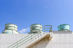 Chemistry tank in factory with blue sky Royalty Free Stock Photography