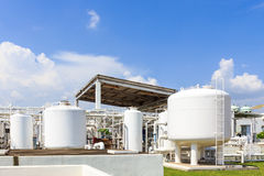 Chemistry tank in factory with blue sky Royalty Free Stock Images