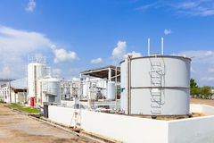 Chemistry tank in factory with blue sky Royalty Free Stock Photo