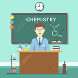 Chemistry teacher in classroom. Vector flat education background Royalty Free Stock Photography