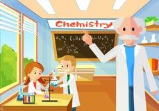 Chemistry Teacher in Lesson Perform Class Task. stock illustration