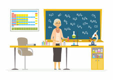 Chemistry teacher - modern cartoon people characters illustration. Aged woman in the room with different visual aids, blackboard, flasks, microscope, periodic Royalty Free Stock Image