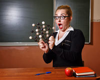 Chemistry teacher surprised. Royalty Free Stock Photo