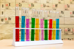 Chemistry test tubes with different colored liquids Stock Photography