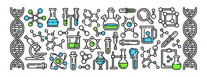 Chemistry tools banner, outline style royalty free illustration
