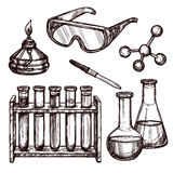 Chemistry Tools Hand Drawn Set. Chemistry laboratory tools and devices black and white sketch hand drawn decorative icon set  vector illustration Royalty Free Stock Photos