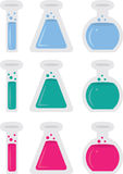 Chemistry Tubes. Isolated chemistry tubes with different colored liquids Stock Images