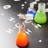 Chemistry tubes filled with colorful liquids Royalty Free Stock Image