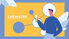 Chemistry Vector Web Banner Template with Text royalty free illustration
