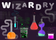 Chemistry is a wizardry concept illustration. Flat style design.  royalty free illustration