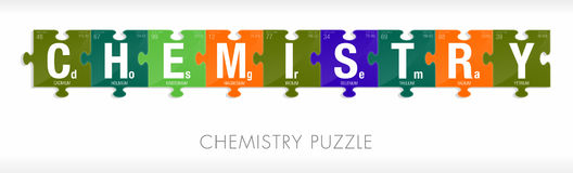 CHEMISTRY word formed by symbols of the Periodic Table of the Elements in the form of puzzle pieces stock illustration