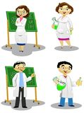 The Chemists. A group of chemists experimenting some formulas and preparing potions Vector Illustration