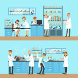 Chemists In The Chemical Research Lab Doing Experiments And Running Chemical Tests. Busy Scientists In Lab Coats In Institute Laboratory Set Of Two Cartoon Stock Image