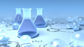 Chemisty flasks surrounded with molecules Royalty Free Stock Image