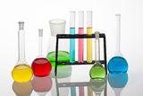 Chemisty set with laboratory glassware filled with various colou Stock Image