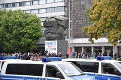 Chemnitz, Duitsland - September 01, 2018: Afddemonstratie Trauermarsch Stock Foto's