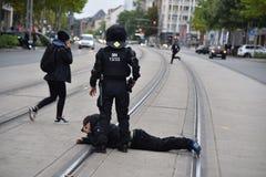 Chemnitz, Duitsland - September 01, 2018: Afddemonstratie Trauermarsch Stock Foto