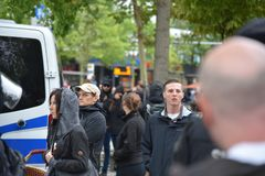 Chemnitz, Duitsland - September 01, 2018: Afddemonstratie Trauermarsch Royalty-vrije Stock Foto