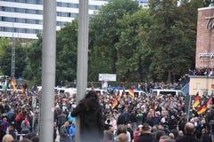 Chemnitz, Duitsland - September 01, 2018: Afddemonstratie Trauermarsch Stock Afbeeldingen