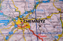 Chemnitz on map. Close up shot of Chemnitz Germany on a map Royalty Free Stock Photography