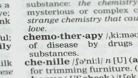 Chemotherapie, woord in Engels woordenboek, kankerbehandeling, gezondheidszorg wordt gericht die stock videobeelden