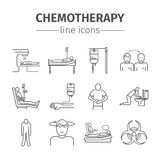 Chemotherapy line icons set Royalty Free Stock Photos