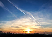 Chemtrails in the sky Stock Photos