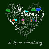 Chemystry doodles on school squared paper Royalty Free Stock Photography