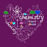 Chemystry doodles on school squared paper Royalty Free Stock Images