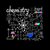 Chemystry klotter på skola kvadrerat papper Arkivbilder