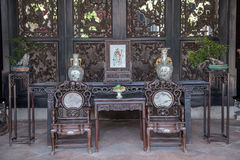Chen Clan Academy, a famous tourist attraction in Guangdong, China, is the furniture of Ming and Qing Dynasties, which is displaye Royalty Free Stock Photo