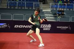 Chen Ke from China top spin. Round of 32. Women`s Singles. Seamaster 2017 ITTF World tour platinum; German Open Magdebourg. 7-12 November 2017 Stock Photo