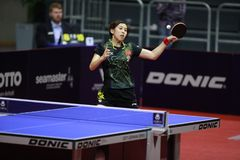 Chen Ke from China top spin. Round of 32. Women`s Singles. Seamaster 2017 ITTF World tour platinum; German Open Magdebourg. 7-12 November 2017 Stock Photos